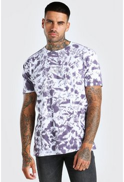 Purple Oversized Barcelona Print Tie Dye T-Shirt