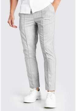 Light grey Skinny Textured Pinstripe Formal Jogger