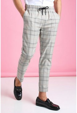 Brown Skinny Check Formal Jogger