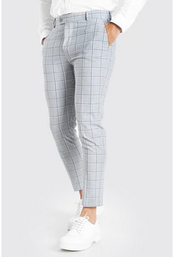 Grey Skinny Windowpane Check Cropped Pants With Chain