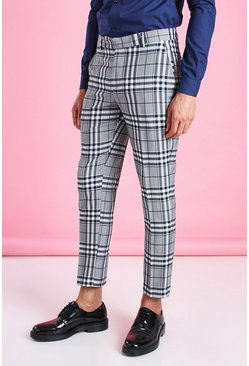 Navy Skinny Tartan Cropped Smart Trouser