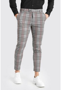 Grey Skinny Check Smart Cropped Pants