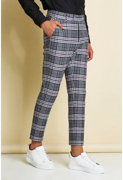Purple Skinny Check Smart Cropped Pants