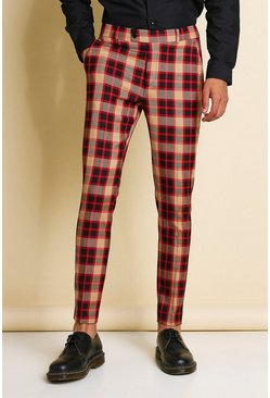 Red Skinny Bright Check Smart Pants