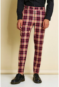 Pink Skinny Bright Check Smart Pants