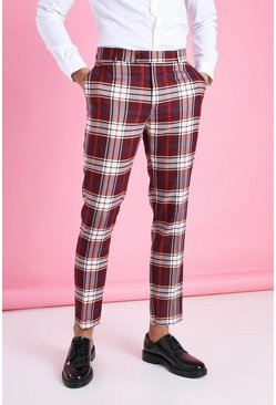 Burgundy Skinny Plaid Smart Pants