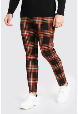 Orange Skinny Plaid Smart Pants