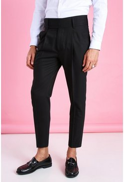 Black Skinny Plain Double Fastening Cropped Smart Trouser