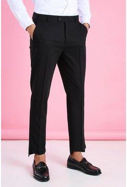 Black Skinny Plain Smart Pants With Split Cuff