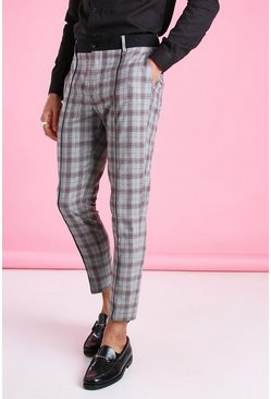 Grey Super Skinny Check Pants With Contrast Waistband
