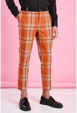 Orange Super Skinny Check Contrast Waistband Pants