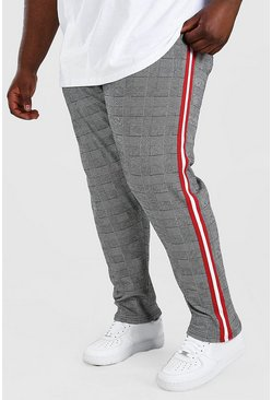 Grey Big And Tall Prince Of Wales Jogger With Tape