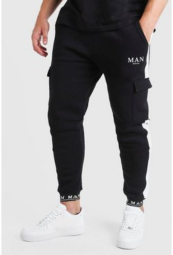 Black Big And Tall MAN Jogger With Embroidered Cuff