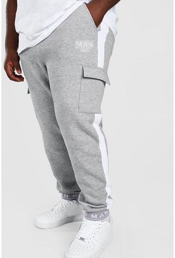 Grey Big And Tall MAN Jogger With Embroidered Cuff