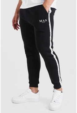 Black Big And Tall Skinny Jogger With MAN Tape