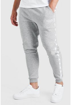 Grey Plus Size Skinny Jogger With MAN Tape