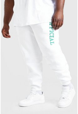 White Big And Tall MAN 3D Embroidered Joggers