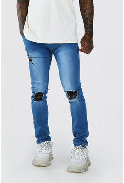 Stonewash Super Skinny Jeans With Camo Rip & Repair