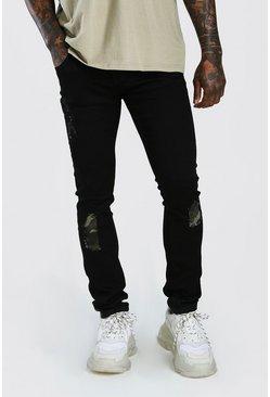 Black Super Skinny Jeans With Camo Rip & Repair