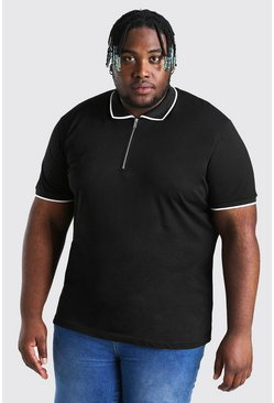 Black Plus Size Zip Polo With Piping