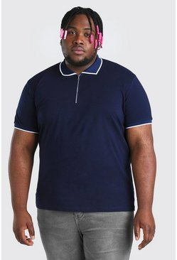 Navy Plus Size Zip Polo With Piping