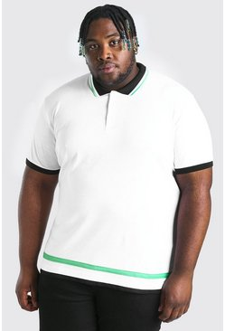 White Plus Size Polo With Contrast Tipping