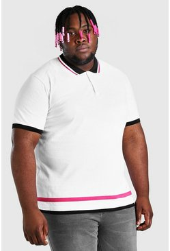 White Big And Tall Polo With Contrast Tipping