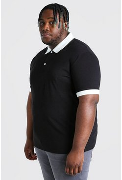 Black Plus Size Polo With Contrast Collar And Cuff