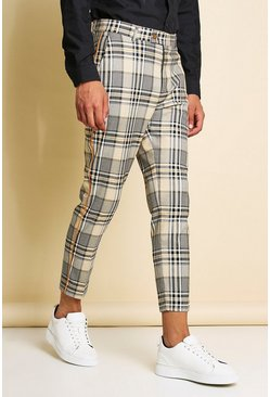 Orange Skinny Tartan Cropped Neon Piping Smart Trouser