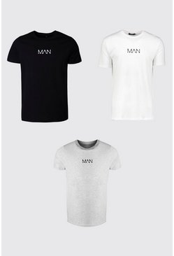 Multi 3 Pack Original MAN Crew Neck T-Shirt