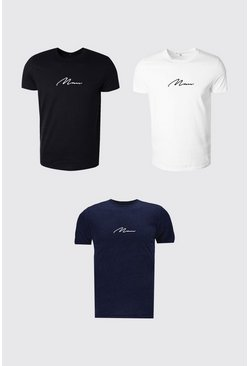 Multi 3 Pack MAN Signature Crew Neck T-Shirt