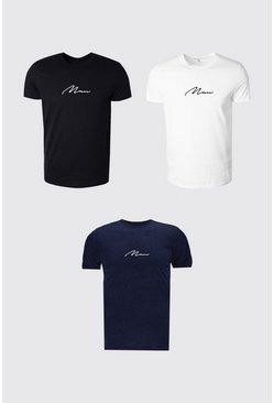 Multi 3 Pack MAN Signature Crew Neck T-Shirt