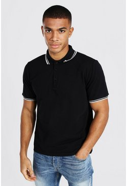 Black Tipped Pique Polo