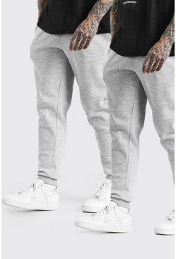 2er-Pack Slim Fit Jogginghose, Grau meliert