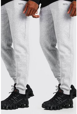 Lot de 2 pantalons de jogging skinny MAN Dash, Gris chiné
