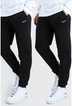 Lot de 2 joggings coupe slim MAN Dash, Noir