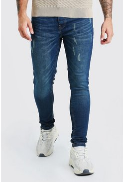Indigo Skinny Fit Jean With Abraisons