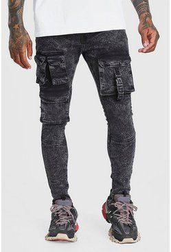 Washed black Skinny Fit Cargo Jean