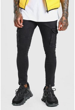 Charcoal Skinny Fit Cargo Jean