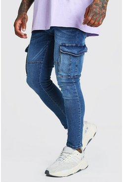 Mid blue Skinny Fit Cargo Jean