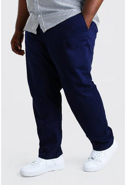 Navy Plus Size Skinny Fit Chino Trouser