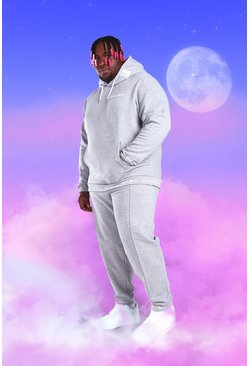 Grey marl Big And Tall Official MAN Hooded Tracksuit