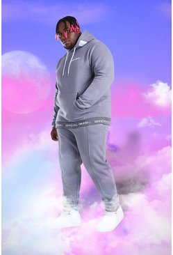 Slate Big And Tall Official MAN Hooded Tracksuit