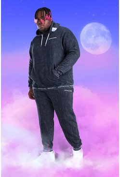 Black Plus Size Official MAN Hooded Tracksuit