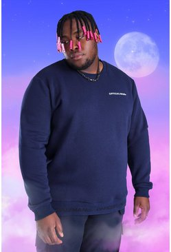 Navy Big And Tall Official MAN Rib Detail Sweater