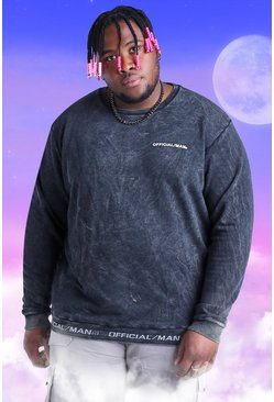 Black Plus Size Official MAN Rib Detail Sweater