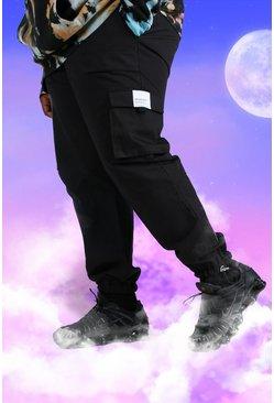 Black Big And Tall Utility Twill Jogger with Cuff Hem