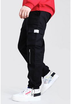 Black Big And Tall Slim Fit Utility Jogger With Zip