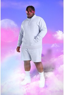 Grey Plus Size MAN 1/4 Zip Short Tracksuit