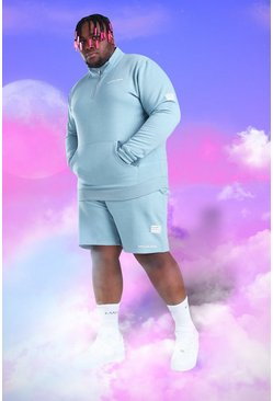 Light blue Plus Size MAN 1/4 Zip Short Tracksuit